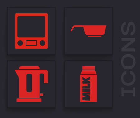 Set Paper package for milk, Electronic scales, Frying pan and Electric kettle icon. Vector