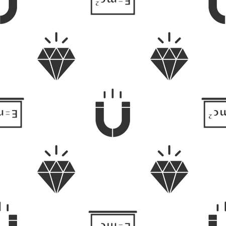 Set Equation solution, Magnet and Diamond on seamless pattern. Vector