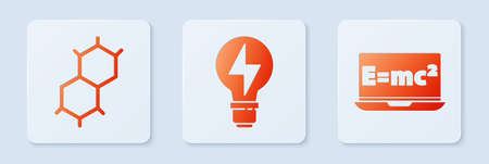Set Light bulb with lightning, Chemical formula and Equation solution. White square button. Vector Ilustrace
