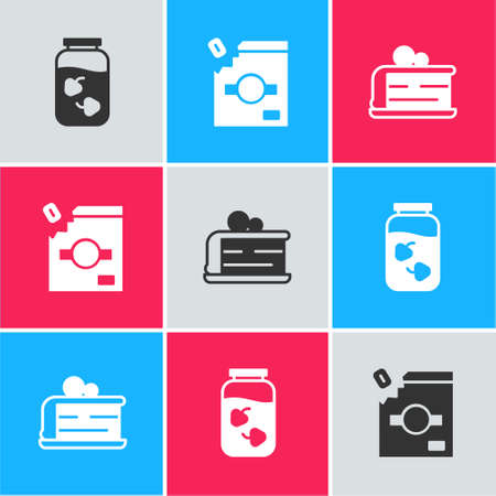 Set Strawberry jam jar, Candy packaging for sweets and Piece of cake icon. Vector 向量圖像