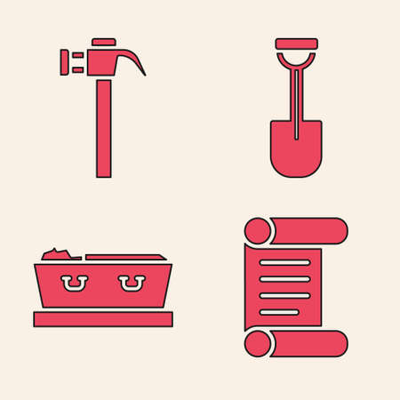 Set Decree, parchment, scroll, Hammer, Shovel and Coffin with dead icon. Vector Ilustracja