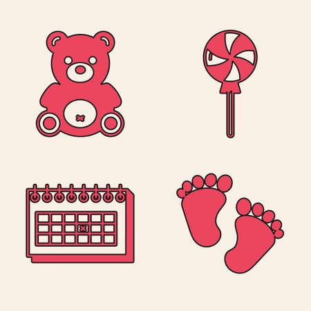 Set Baby footprints, Teddy bear plush toy, Lollipop and Calendar icon. Vector Illusztráció