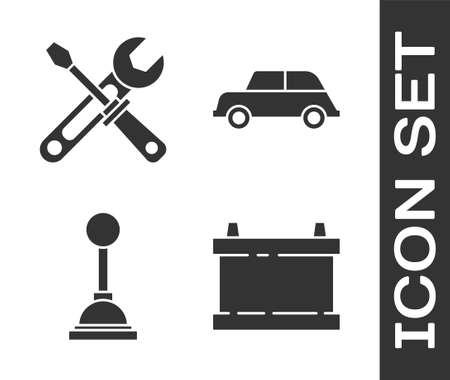 Set Car battery, Screwdriver and wrench tools, Gear shifter and Car icon. Vector Vecteurs