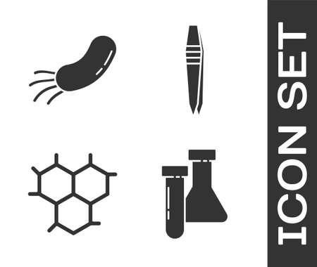 Set Test tube and flask chemical, Bacteria, Chemical formula and Tweezers icon. Vector