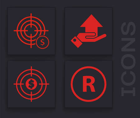 Set Registered Trademark, Target with dollar symbol, Money on hand and Target with dollar icon. Vector