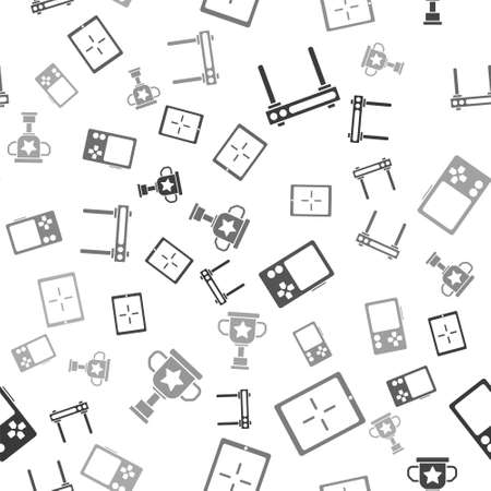 Set Router and wi-fi signal, Tablet, Portable video game console and Award cup on seamless pattern. Vector