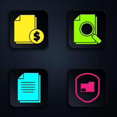 Set Document folder protection, Finance document, Document and Document with search. Black square button. Vector
