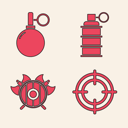 Set Target sport, Hand grenade, Hand grenade and Medieval shield with crossed axes icon. Vector