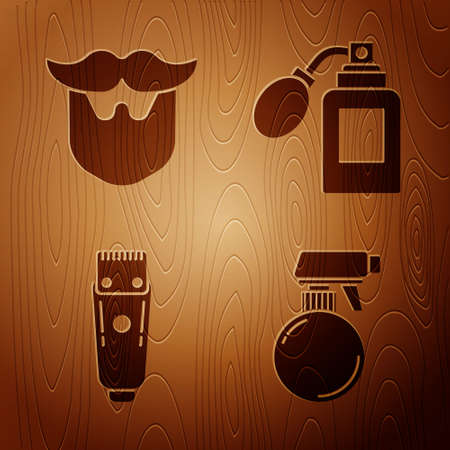 Set Hairdresser pistol spray bottle, Mustache and beard, Electrical hair clipper or shaver and Aftershave bottle with atomizer on wooden background. Vector