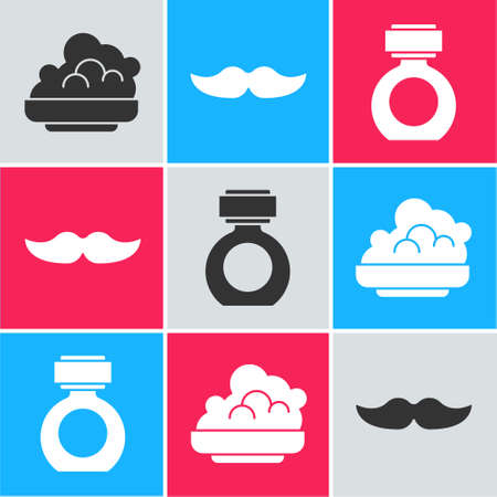 Set Shaving gel foam, Mustache and Aftershave icon. Vector  イラスト・ベクター素材