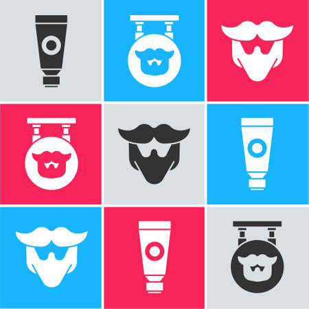 Set Cream or lotion cosmetic tube, Barbershop and Mustache and beard icon. Vector