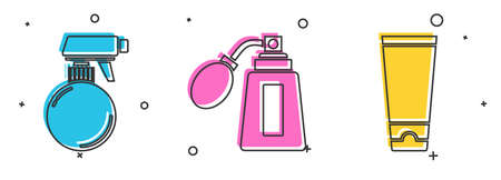 Set Hairdresser pistol spray bottle, Aftershave bottle with atomizer and Cream or lotion cosmetic tube icon. Vector  イラスト・ベクター素材