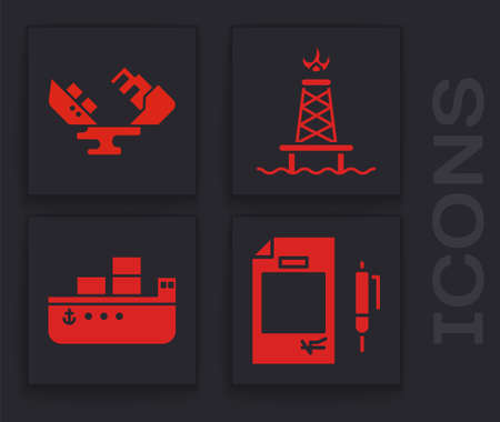 Set Contract money and pen, Wrecked oil tanker ship, Oil rig with fire and Oil tanker ship icon. Vector