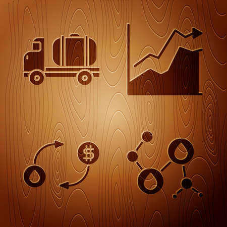 Set Molecule oil, Tanker truck, Oil exchange and Oil price increase on wooden background. Vector