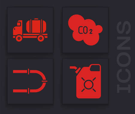 Set Canister for motor oil, Tanker truck, CO2 emissions in cloud and Industry pipe icon. Vector