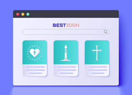 Set Burning candle in candlestick, Christian cross and heart and Christian cross icon. Vector Ilustracja
