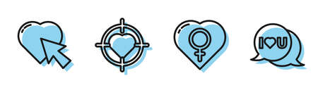 Set line Female gender in heart, Heart and cursor click, Heart in the center of target aim and Speech bubble with I love you icon. Vector