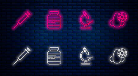 Set line Medicine bottle and pills, Microscope, Syringe and Runny nose virus. Glowing neon icon on brick wall. Vector 矢量图像