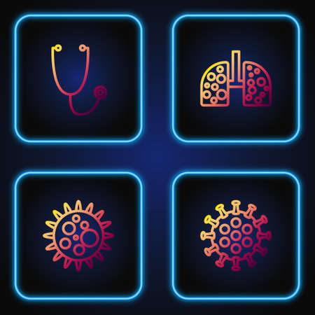 Set line Virus, , Stethoscope and cells in lung. Gradient color icons. Vector