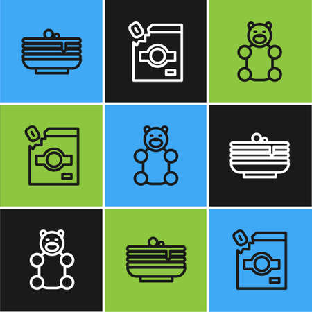 Set line Stack of pancakes, Jelly bear candy and Candy packaging for sweets icon. Vector 向量圖像