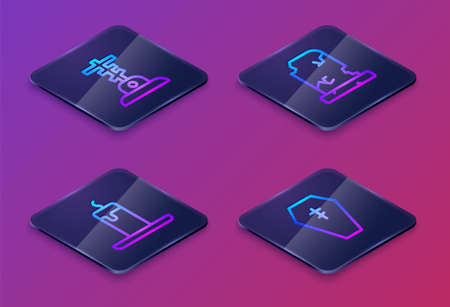 Set Isometric line Grave with cross, Burning candle, Old grave tombstone and Coffin. Blue square button. Vector Ilustracja