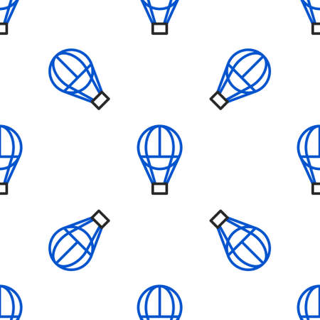 Line Hot air balloon icon isolated seamless pattern on white background. Air transport for travel. Colorful outline concept. Vector
