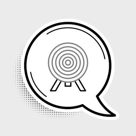 Line Target icon isolated on grey background. Dart board sign. Archery board icon. Dartboard sign. Business goal concept. Colorful outline concept. Vector Ilustração