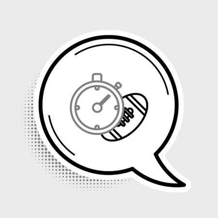 Line American Football ball and stopwatch icon isolated on grey background. Set of sport equipment. Colorful outline concept. Vector  イラスト・ベクター素材