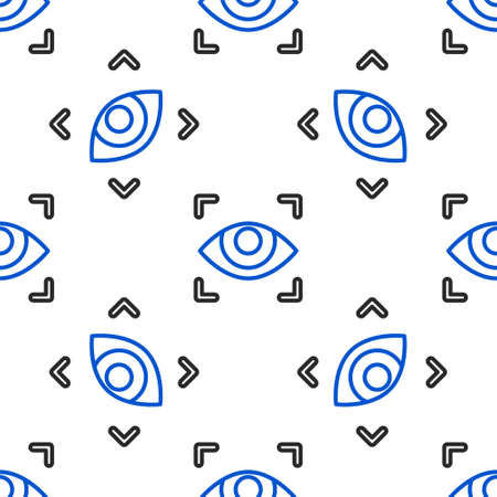 Line Eye scan icon isolated seamless pattern on white background. Scanning eye. Security check symbol. Cyber eye sign. Colorful outline concept. Vector