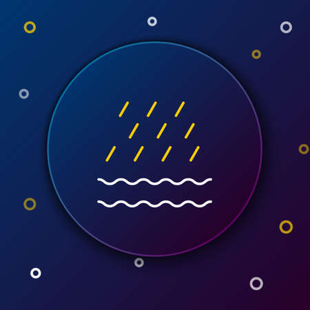 Line Rain and waves icon isolated on blue background. Rain cloud precipitation with rain drops. Colorful outline concept. Vector