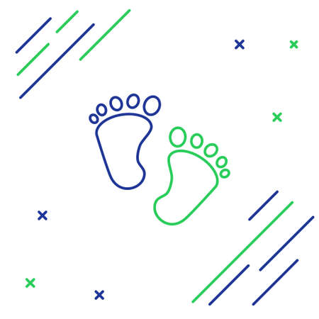 Line Baby footprints icon isolated on white background. Baby feet sign. Colorful outline concept. Vector 矢量图像