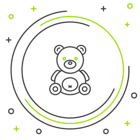Line Teddy bear plush toy icon isolated on white background. Colorful outline concept. Vector