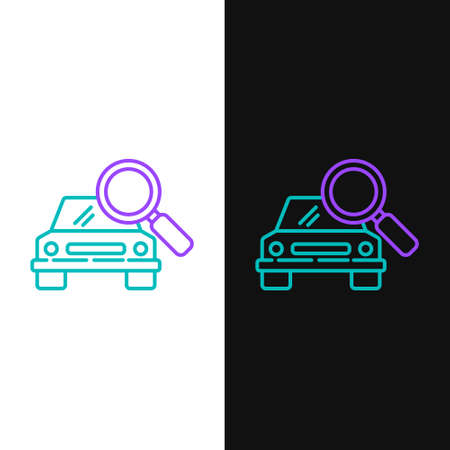 Line Car search icon isolated on white and black background. Magnifying glass with car. Colorful outline concept. Vector