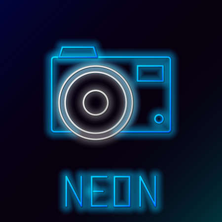 Glowing neon line Photo camera icon isolated on black background. Foto camera icon. Colorful outline concept. Vector