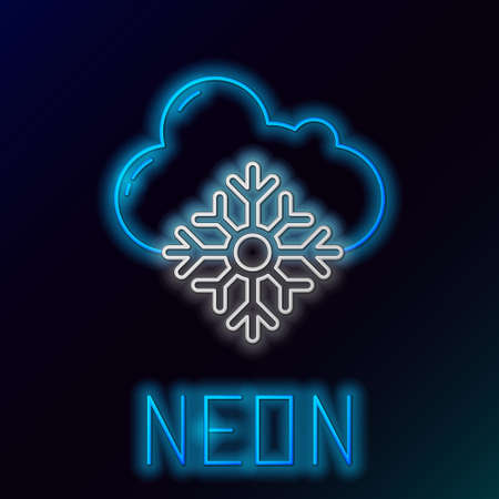 Glowing neon line Cloud with snow icon isolated on black background. Cloud with snowflakes. Single weather icon. Snowing sign. Colorful outline concept. Vector Vettoriali
