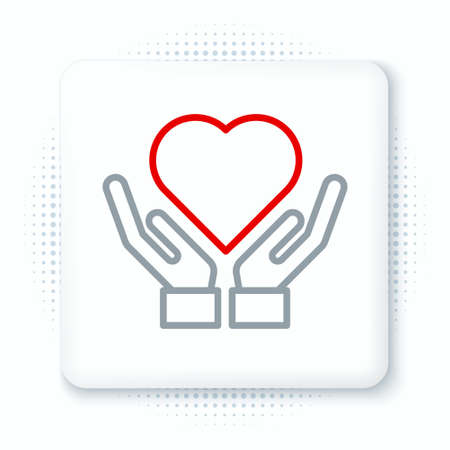 Line Heart on hand icon isolated on white background. Hand giving love symbol. Valentines day symbol. Colorful outline concept. Vector