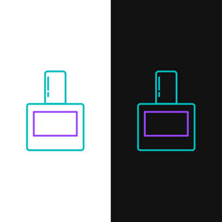 Line Aftershave icon isolated on white and black background. Cologne spray icon. Male perfume bottle. Colorful outline concept. Vector