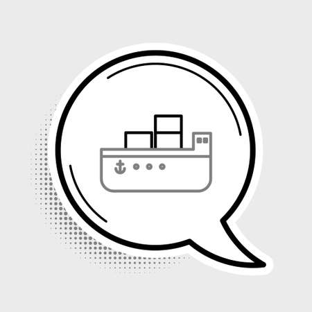 Line Oil tanker ship icon isolated on grey background. Colorful outline concept. Vector