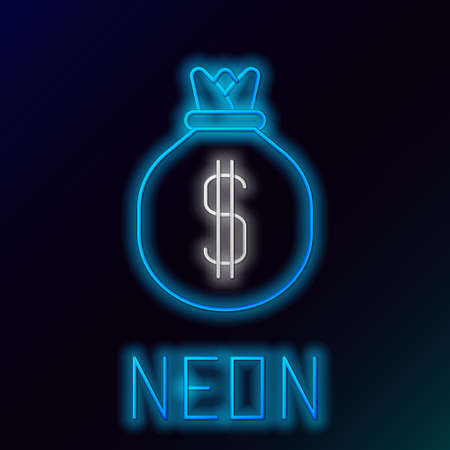Glowing neon line Money bag icon isolated on black background. Dollar or USD symbol. Cash Banking currency sign. Colorful outline concept. Vector