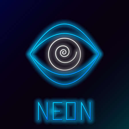 Glowing neon line Hypnosis icon isolated on black background. Human eye with spiral hypnotic iris. Colorful outline concept. Vector