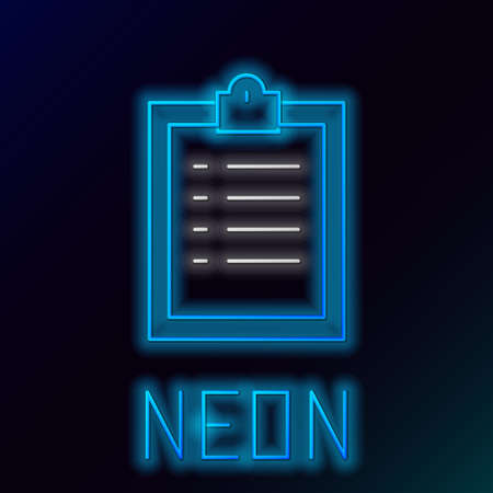 Glowing neon line Clipboard with checklist icon isolated on black background. Control list symbol. Survey poll or questionnaire feedback form. Colorful outline concept. Vector