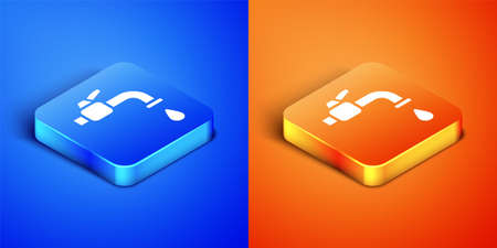 Isometric Water tap icon isolated on blue and orange background. Square button. Vector Illustration 矢量图像