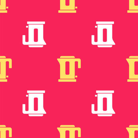 Yellow Electric kettle icon isolated seamless pattern on red background. Teapot icon. Vector