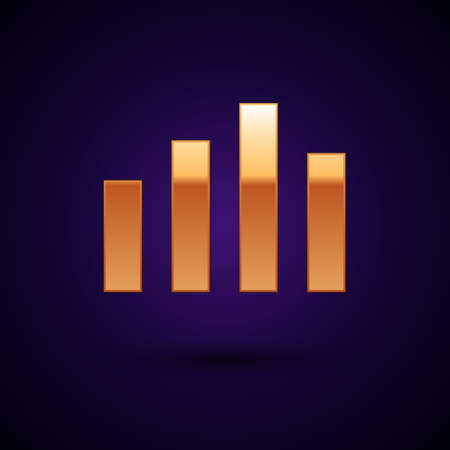 Gold Music equalizer icon isolated on black background. Sound wave. Audio digital equalizer technology, console panel, pulse musical. Vector 向量圖像