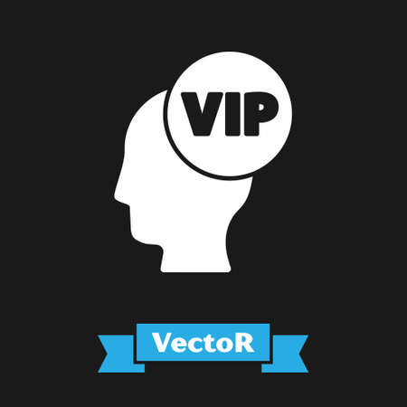 White Vip inside human head icon isolated on black background. Vector