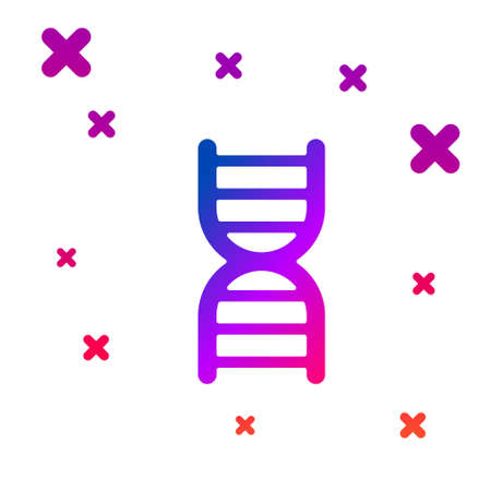 Color DNA symbol icon isolated on white background. Gradient random dynamic shapes. Vector