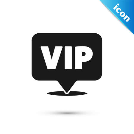 Grey Location Vip icon isolated on white background. Vector Vettoriali