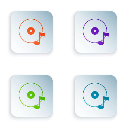 Color Vinyl disk icon isolated on white background. Set colorful icons in square buttons. Vector