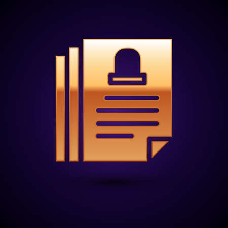 Gold Death certificate icon isolated on black background. Vector