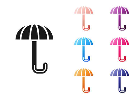 Black Classic elegant opened umbrella icon isolated on white background. Rain protection symbol. Set icons colorful. Vector Vettoriali